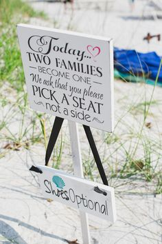 beach wedding signs http://www.weddingchicks.com/2013/10/04/wedding-in-turquoise-and-pink/