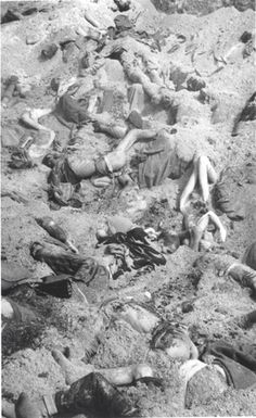 Bergen Belsen, Germany, Prisoners' dead bodies in a mass grave, April 1945. My Uncle helped liberate this camp in 1945.