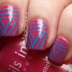 geometr nail, summer nails, nail arts, tribal nails, nail design, line design, bold colors, stripe, blue nails
