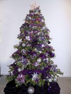xmas trees, silver christmas, purple christmas, decorated christmas trees, christma tree, christmas tree decorations, themed christmas trees, christmas tree skirts, christmas tree ornaments
