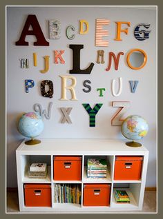 fun idea for a wall in a kids room or toy room - use a color theme depending on boy or girl