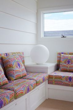 Great seating idea - love the fabric