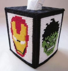 Avengers tissue box cover in plastic canvas (pattern) - $5.00