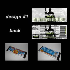 CALL OF DUTY MW3 CANDY BAR WRAPPERS