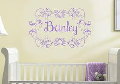 Baby Girl Name Nursery Wall Decal Vinyl Decor Monogram via Etsy      TidewaterParent.com is loving this name decor inspiration!  #parent #nursery #babynames