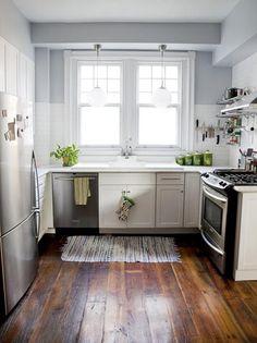 wide plank wood floors, white & grey