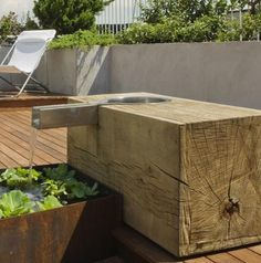 corten stainless steel timber water feature