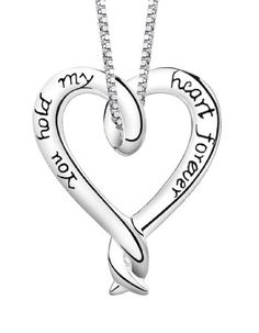 """Sterling Silver """"You Hold My Heart Forever"""" Heart Pendant, 18"""" $26.00"""