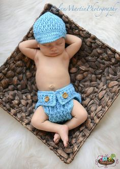 Set of 2 Crochet Patterns for Ripley Beanie and Diaper Cover - Multiple Sizes - Welcome to sell finished items