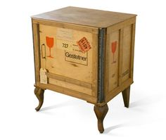 Tea chest bedside table