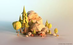 Power Giants - lowpoly paperworld by Mateusz Szulik, via Behance