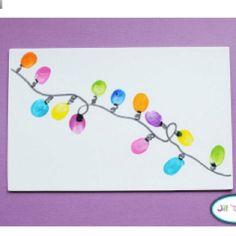 Thumbprint Christmas lights.. idea for parent gift!