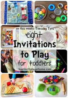 8 Invitations to Play for Toddlers. Toddler Activities (many suitable for babies and older kids as well)