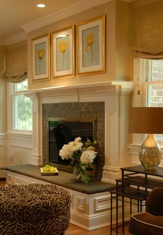 dining rooms, wall colors, fireplace mantles, front rooms, mantel, window treatments, dining room colors, hearth, fireplace makeovers