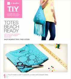 """Favorite t-shirt tote.  Cut sleeves off t-shirt.  Cut even strips about 1"""" wide by however long you want it.   Pull and tie each fringe at top.  No Sew."""