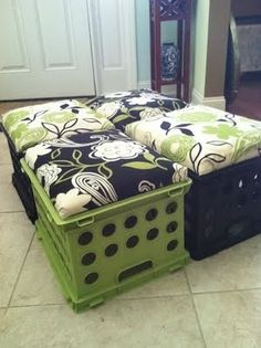 DIY Milk Crate seats.. Cut a piece of plywood to fit the opening of the milk crate, cover with foam and batting. Place fabric on top and staple the excess underneath the plywood. Place on the opening of the crate.
