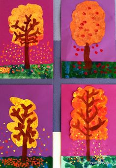 PAINTED PAPER...fall trees