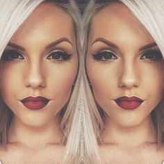 Beautiful makeup. Red lips. Winged black liquid eyeliner. Beautiful nighttime look❤️❤️
