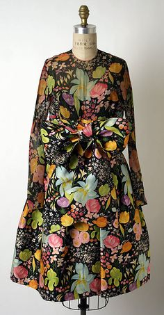 Dress, James Galanos, early 1960s, American, silk #dress #50s  #fashion #floral #1950s #partydress #daydress #teadress #vintage #retro #sundress #floralprint #petticoat