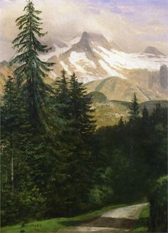Landscape with Snow Capped Mountains - Albert Bierstadt