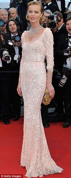beautiful dress ... Eva Herzigova in pale lace Dolce and Gabbana dress