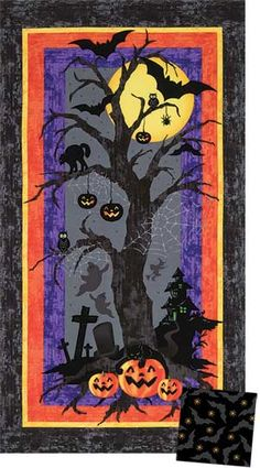 HALLOWEEN H'OWL quilt kit, easily made from a printed panel!