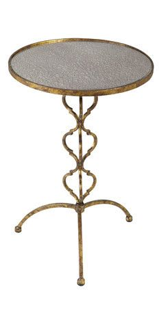 """""""Love the antique mirrored top of this little table. Don't be afraid to mix metals in a room!!"""""""