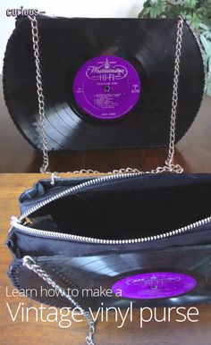 Make a vintage purse out of vinyl records