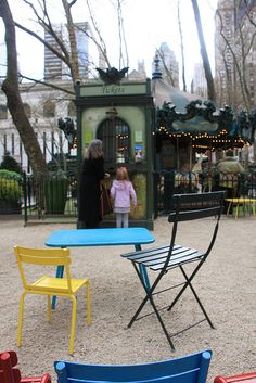 2012: Bryant Park's pint-sized guests are not forgotten.  The mini bistro chairs and tables are ideal spots for budding artists to practice their coloring skills.