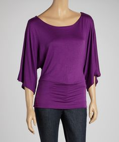 Plum Cape-Sleeve Top.