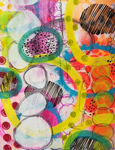Crazy Layered Circles  a journal page by Dori Patrick