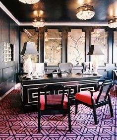 black and pink office! Brought to you by shoplet.com, everything for your business! chinoiserie, decor, interior, black walls, dark walls, desks, carpet, kelly wearstler, home offices