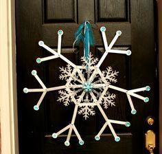 Popsicle stick snow flake door wreath