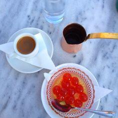 Greek coffee with cherry desert