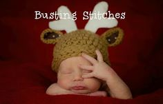 Soo cute! Free Pdf Pattern!! Reindeer Hat crochet hat, hats, babi reindeer, reindeer hat, bust stitch, hat patterns, silli reindeer, crochet patterns, babi crochet