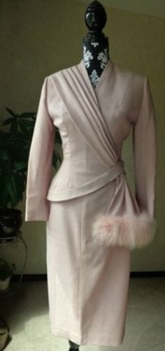 Late 1940s Assymetrical Hour Glass Suit by Lilli Ann.