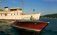 Tara Getty on the 1971 Riva Aquarama speedboat that he uses to go to and from his yacht Blue Bird. Photograph by Todd Eberle.