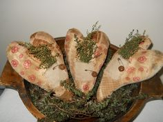 primitive vintage quilt hearts