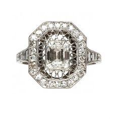 edwardian style diamond ring / trumpet & horn