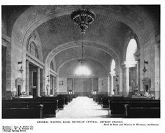 Vintage Photo of the Main Waiting Room of the Michigan Central Railroad Station, Detroit, MI