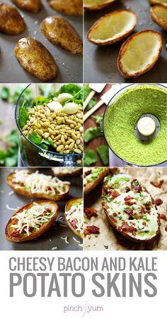 Cheesy Bacon and Kale Potato Skins - crispy little potato skins filled with kale pesto, bacon, and cheese. 250 calories. | pinchofyum.com #potato #skins #recipe #kale