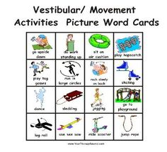 Picture word cards for vestibular and movement activities - from Cut and Paste Sensory Diet