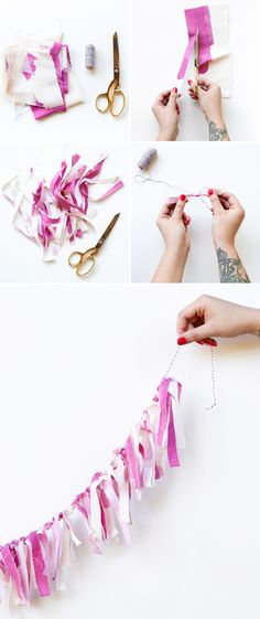 How to make a fabric scrap garland