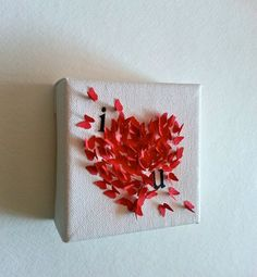Mini Canvas I love you Valentine gift Butterflies 3D by ArtTaj