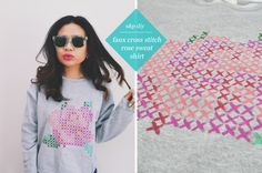 Learn how to create a Faux Cross Stitch Rose Sweatshirt...made with fabric paint! Printable template and how-to over at studs-and-pearls.com.