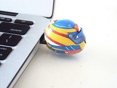 Fernando Alonso F1 helmet USB 4 Gb thumbdrive by SmallIdea on Etsy