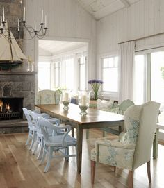 dining rooms, sarah richardson, cottag, dine room, wing chairs, beach houses, stone fireplaces, wingback chairs, dining tables