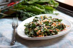 Kale Salad with Chopped Egg, Walnut, and Avocado