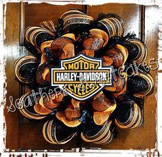 harley wreaths, harley davidson, harley black, school, mesh wreaths diy, crafti thing, orang mesh, holiday mesh wreaths, diy mesh wreaths