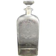 Antique c1820 Danish Glass Spirit Decanter w/Etched Bird & Tree. #antique #vintage #appraisal